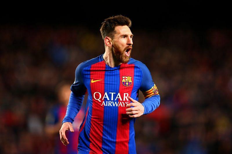 Lionel Messi rejoices after scoring against Celta Vigo.