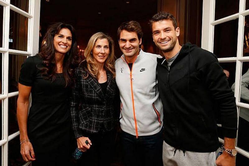 From left: Gabriela Sabatini, Monica Seles, Roger Federer and Grigor Dimitrov