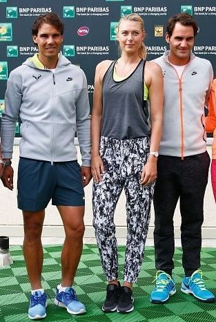 Rafael Nadal (left), Maria Sharapova (centre) and Roger Federer (right)