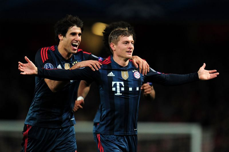 Toni Kroos celebrates after scoring a stunner against Arsenal