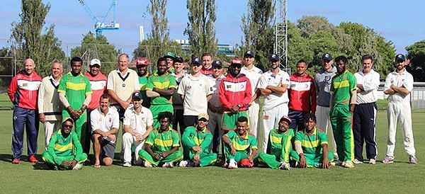 Vanuatu National Team pose with members of Prahran Cricket Club after a match