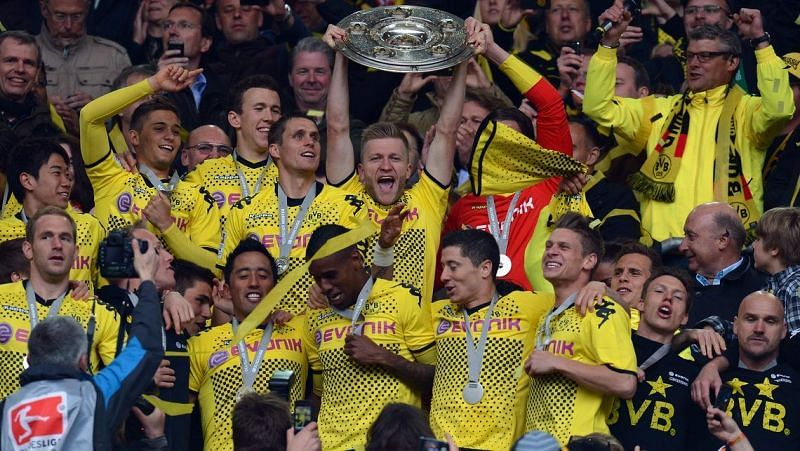 Borussia Dortmund celebrate their 2011-12 Bundesliga title