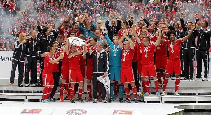 Bayern Munich celebrate their 2012-13 Bundesliga title.