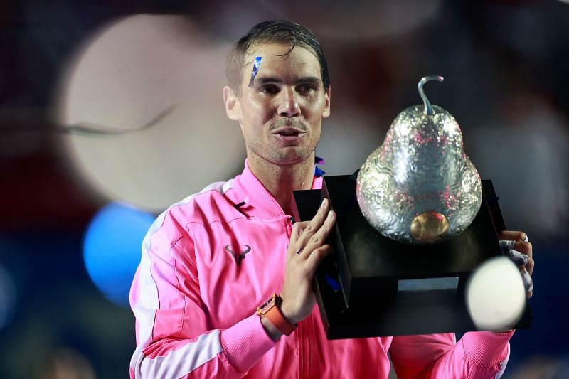 Rafael Nadal with the Telcel ATP Mexican Open 2020 trophy that he won in February