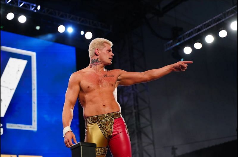 Cody Rhodes celebrates after defeating Joey Janela