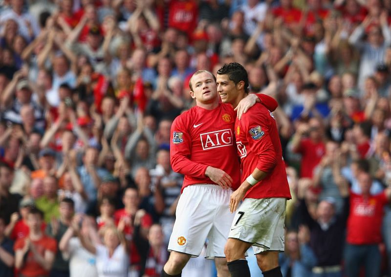 Rooney and Ronaldo celebrate a goal during the 2008-09 season against Bolton Wanderers.
