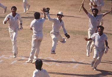 Haryana players celebrate a famous Ranji Trophy win