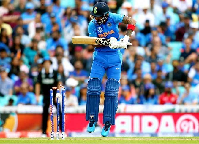 KL Rahul plays on against Trent Boult in the semi-final of the 2019 World Cup.