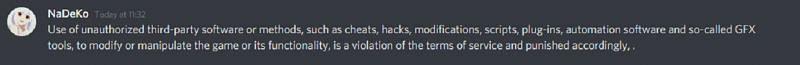 Official Discord response