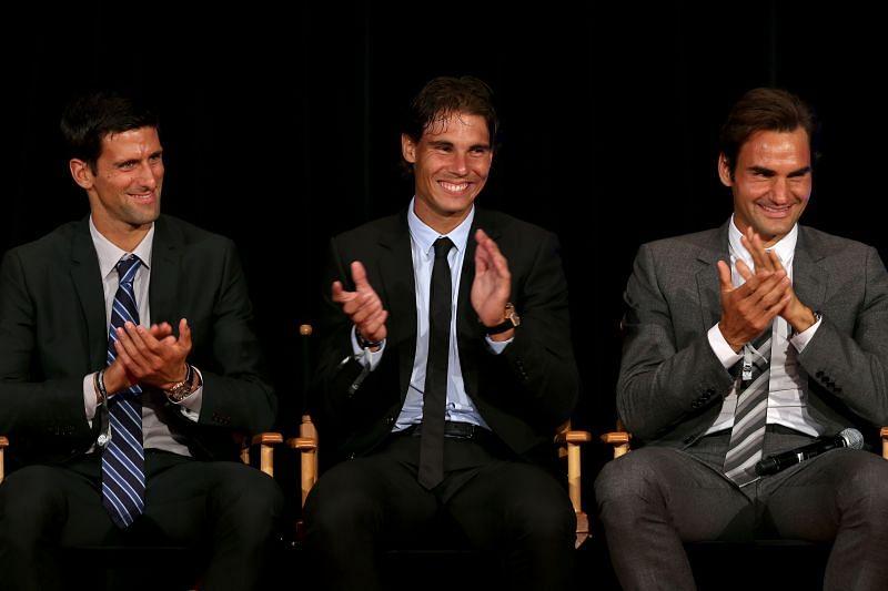 Novak Djokovic (L), Rafael Nadal (centre) and Roger Federer (R)