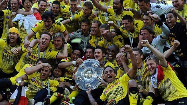 Borussia Dortmund rejoice after winning the 2010-11 Bundesliga title