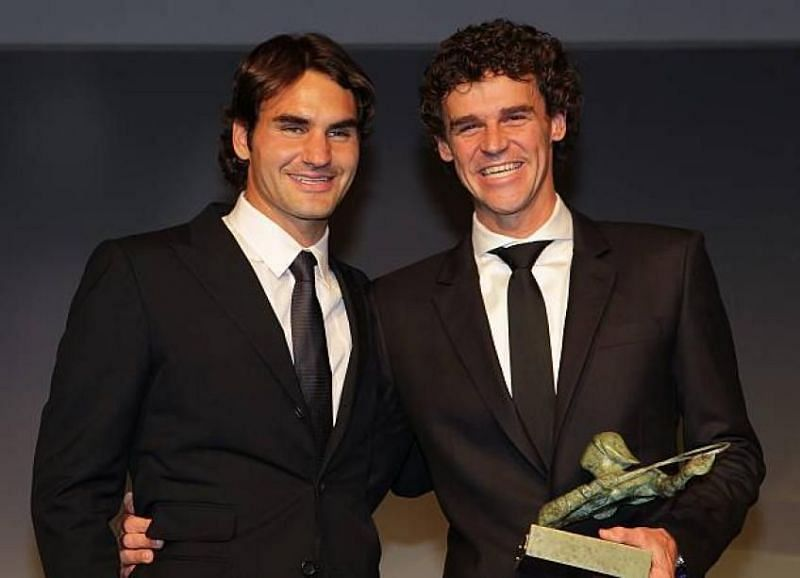 Roger Federer with his old friend, Gustavo Kuerten