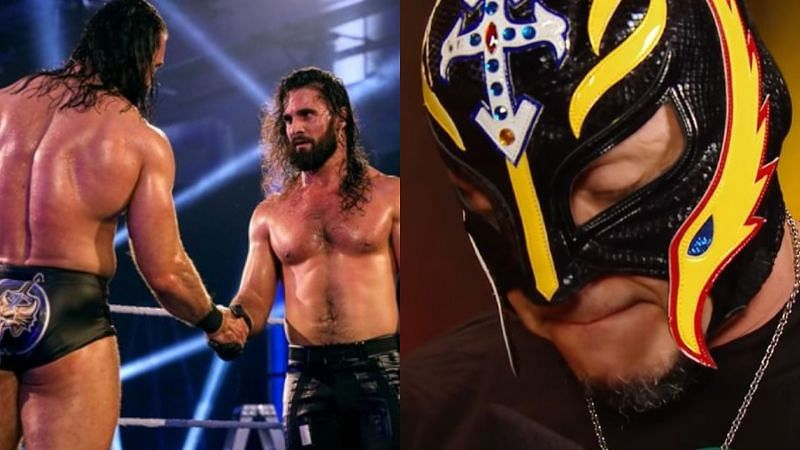 Drew McIntyre and Seth Rollins (left); Rey Mysterio (right)