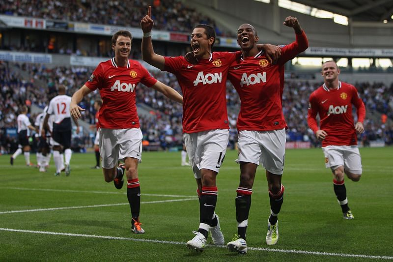 Chicharito in action for Manchester United