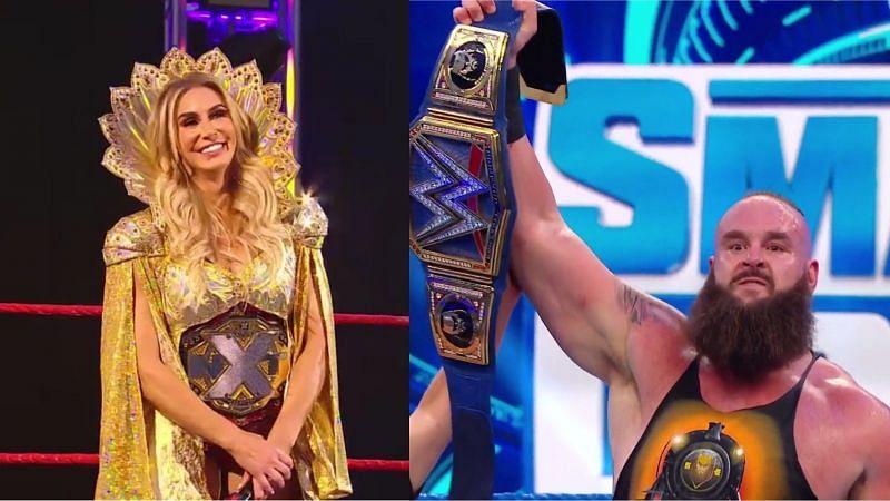 शार्लेट फ्लेयर और WWE यूनिवर्सल चैंपियन ब्रॉन स्ट्रोमैन