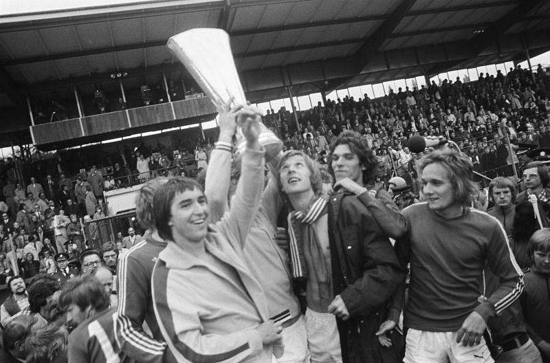Borussia Monchengladbach rejoice with their 1974-75 Bundesliga title.
