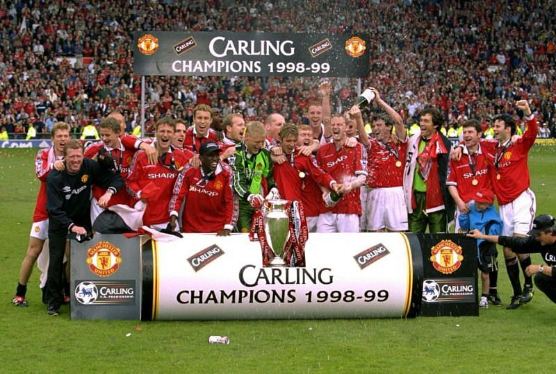 The Premier League was the first title in an extraordinary treble winning season for Manchester United