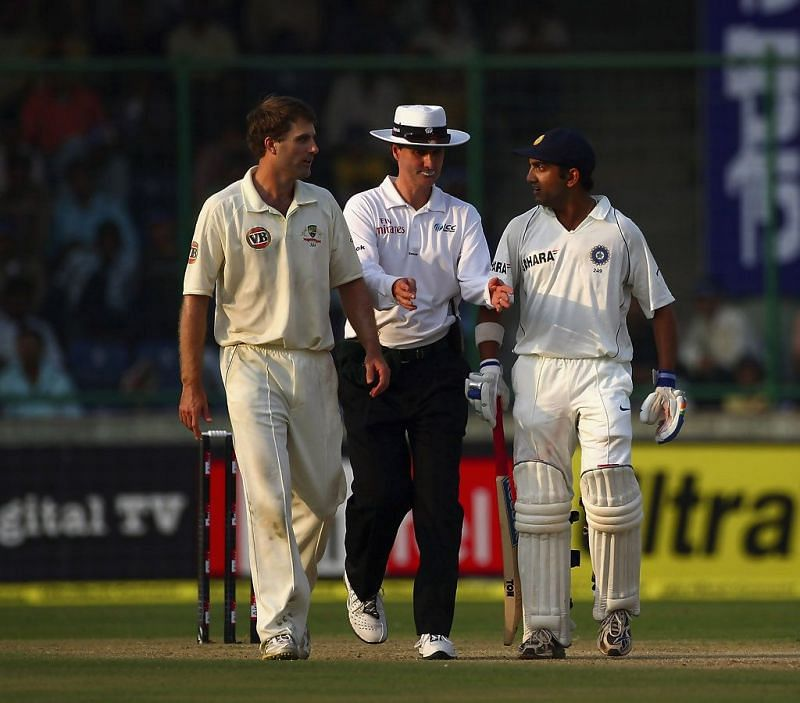 Gautam Gambhir and Simon Katich had a heated exchange after the latter obstructed his run