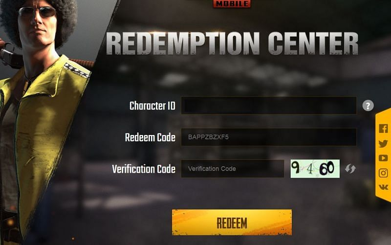 Fill in the Redeem Code details (Image Credits: PUBG Mobile)