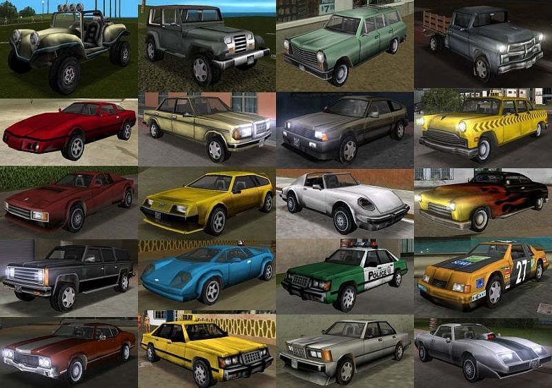 Various cars in GTA: Vice City. Image: Sporcle
