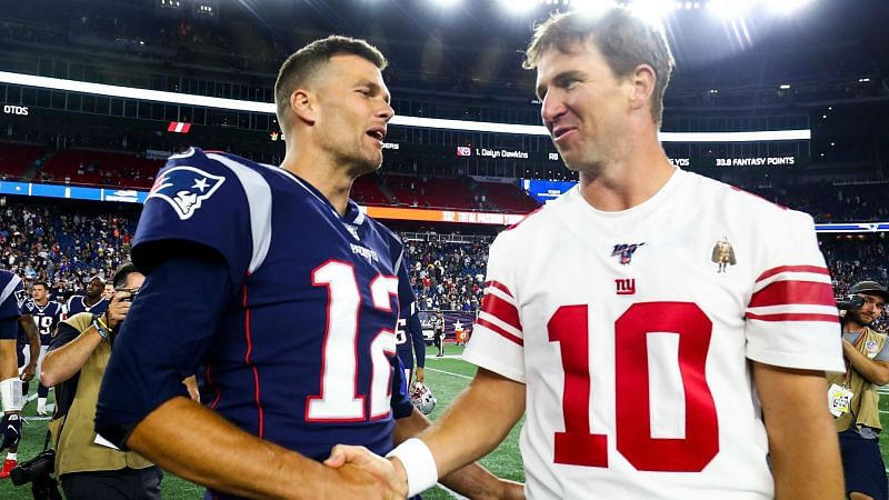 Tom Brady and Eli Manning after their game in 2019