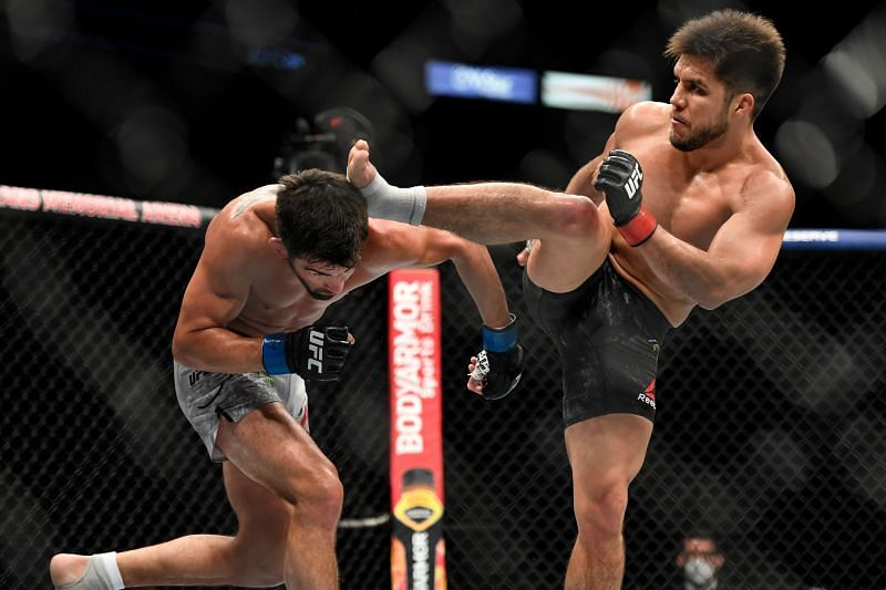 Former flyweight champion Henry Cejudo in action against Dominick Cruz at UFC 249