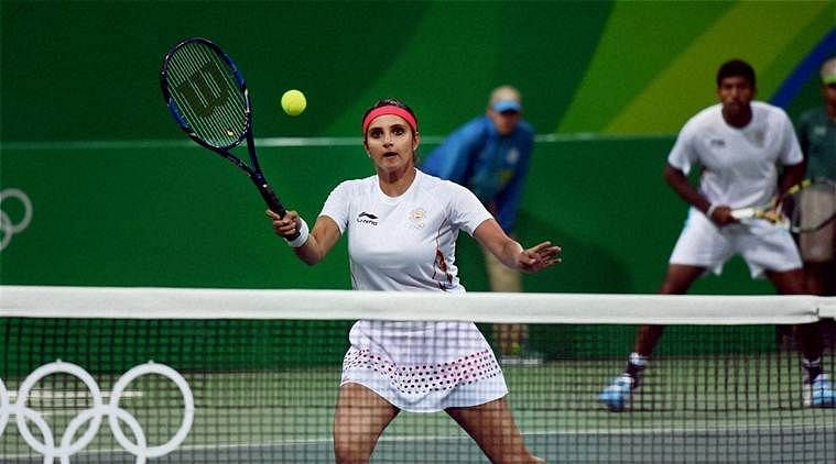 Sania Mirza (front) and Rohan Bopanna in action at Rio Olympics 2016