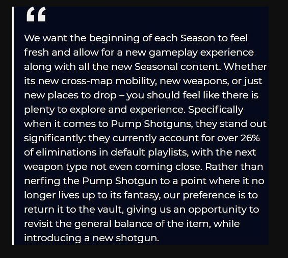 Epic Games issued a statement on why the Pump Shotgun in Fortnite was vaulted (Image Credits: dailyesports.gg)