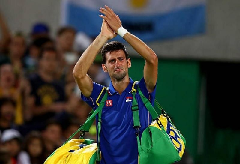 A crestfallen Novak Djokovic acknowledges the crowd after his loss at Rio Olympics