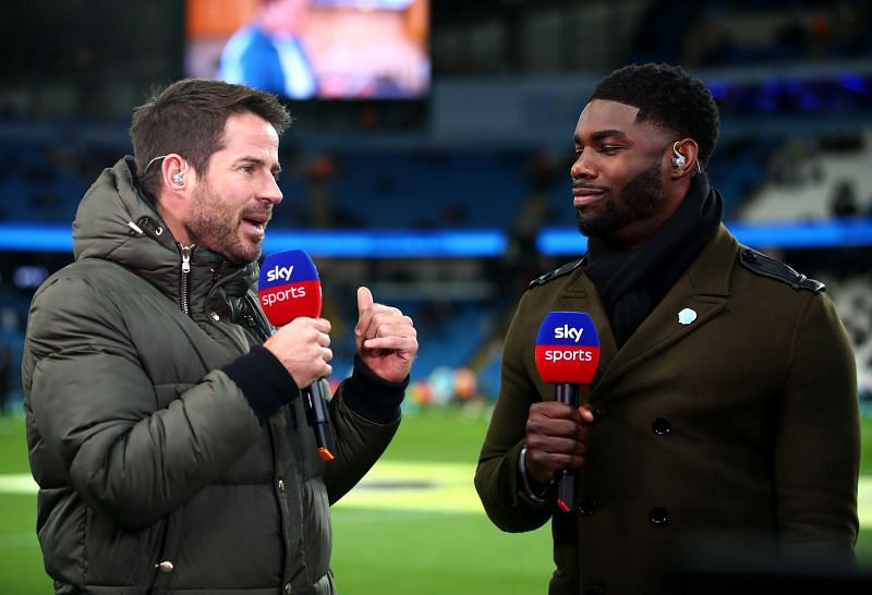 Jamie Redknapp while fulfilling his television duties on Sky Sports