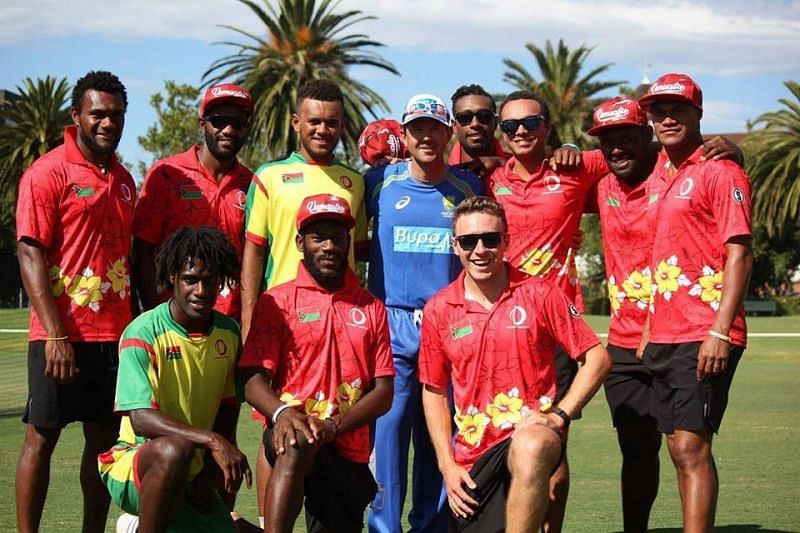 Members of the Vanuatu National Cricket Team with Australian legend Ricky Ponting