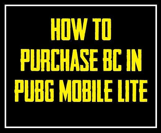 How to puchase BC in PUBG Mobile Lite?