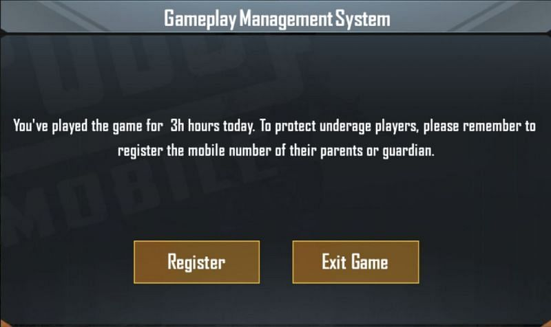 PUBG Mobile: In-game pop-up message