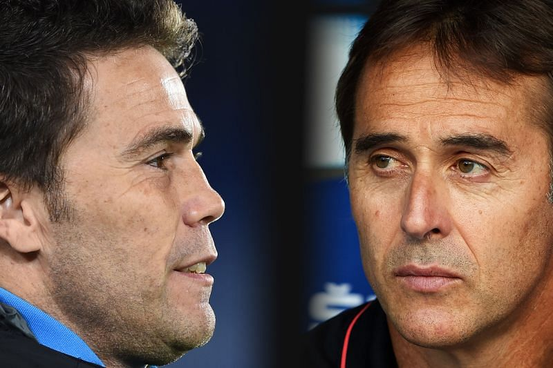 The two managers - Rubi of Real Betis and Julen Lopetegui of Sevilla