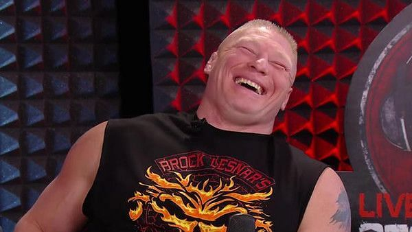Brock Lesnar laughing with