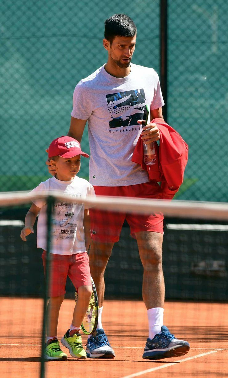 Novak Djokovic S Son In The Limelight As He Steps On The Court For A Hit