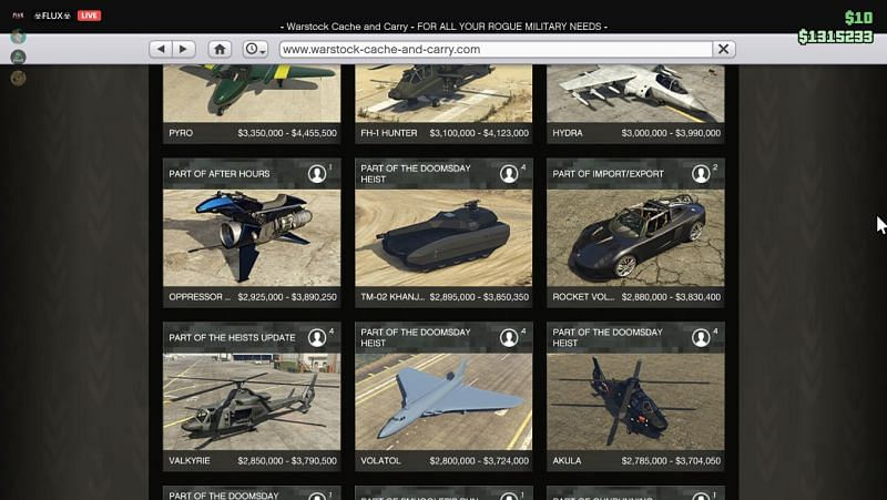 Find Oppressor MK II from the list