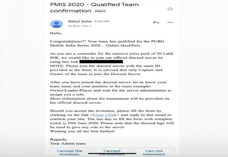 PMIS 2020 In-Game Qualifiers E-Mail