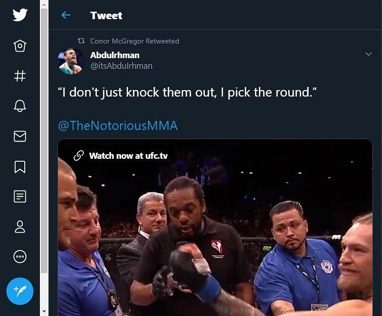 Conor McGregor retweets a video of his fight against Dustin Poirier.