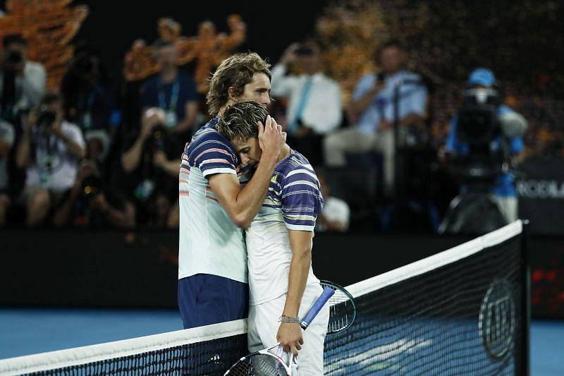 Alexander Zverev (L) and Dominic Thiem (R)