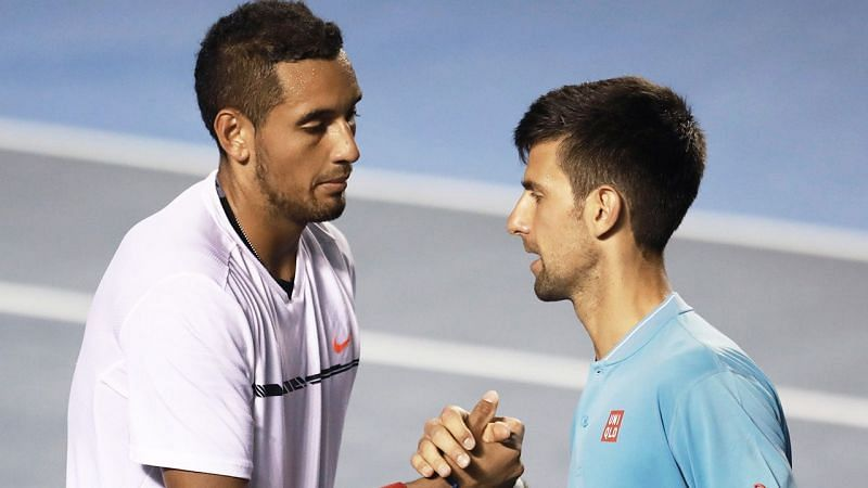Nick Kyrgios (L) and Novak Djokovic