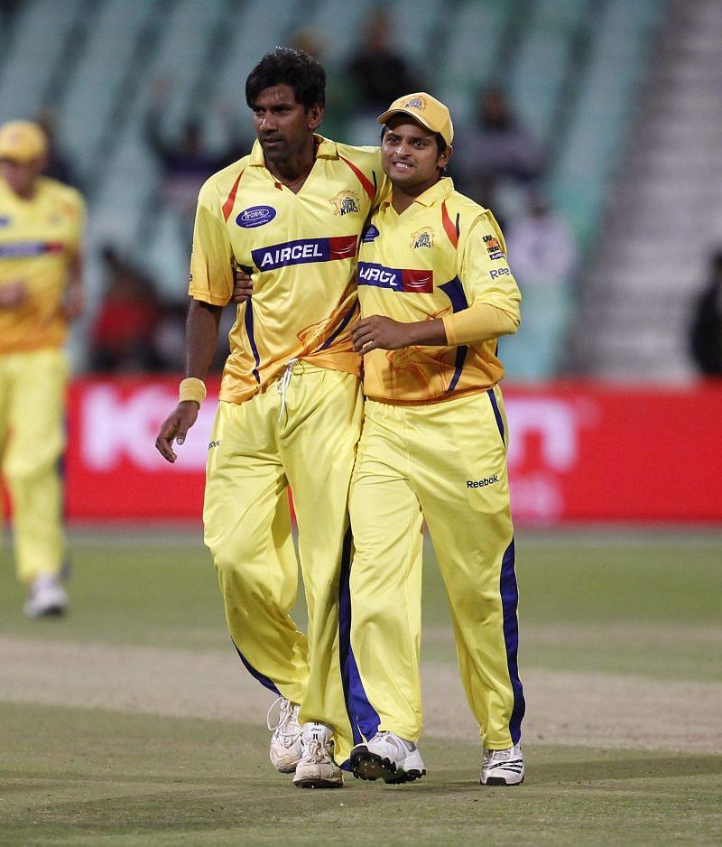 Lakshmipathy Balaji (left) in Chennai Super Kings colours