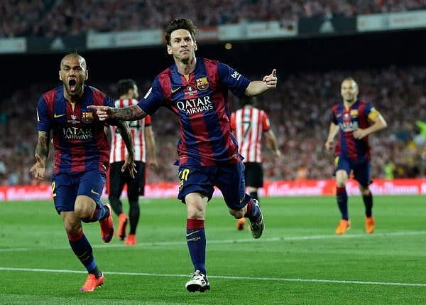 Lionel Messi exults after scoring against Athletic Bilbao.