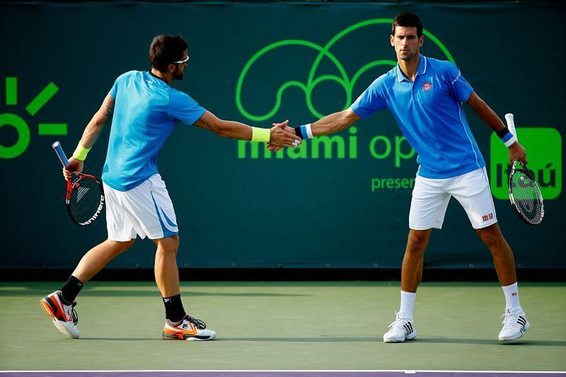 Janko Tipsarevic ( L) and Novak Djokovic