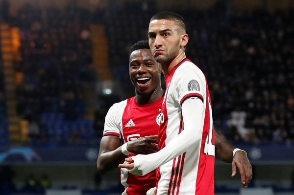 Hakim Ziyech celebrates after scoring against EPL giants Chelsea