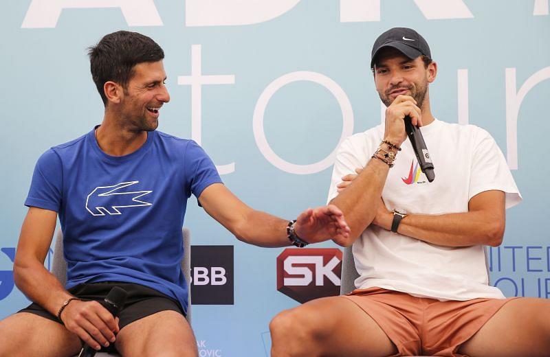 Novak Djokovic (L) with Grigor Dimitrov at the Adria Tour