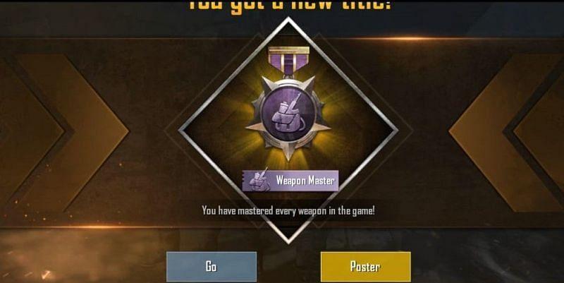 PUBG Mobile Weapon master title