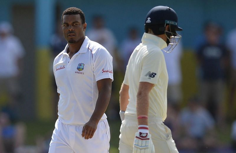 Shannon Gabriel and Joe Root