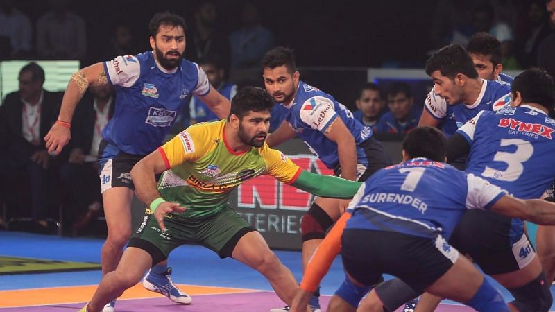 Pardeep Narwal produced a stunning 8-point raid in this match against the Steelers