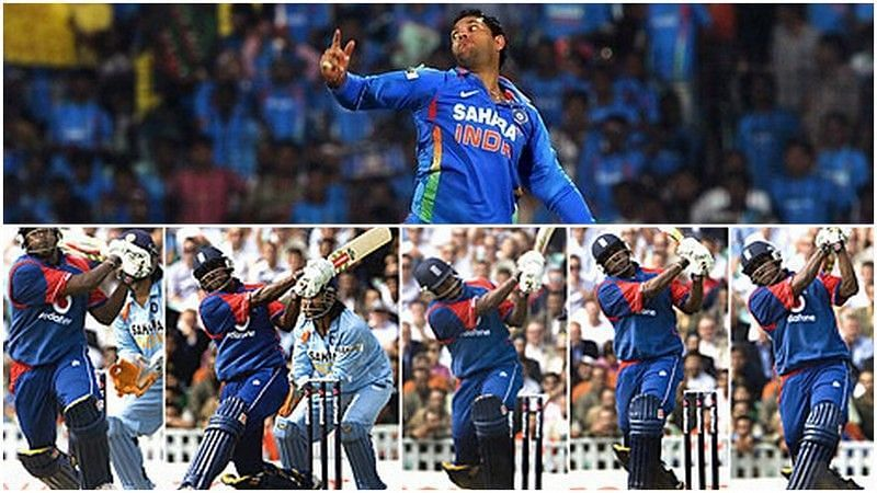 Yuvraj Singh was struck for 5 sixes in a row by Dimitri Mascarenhas